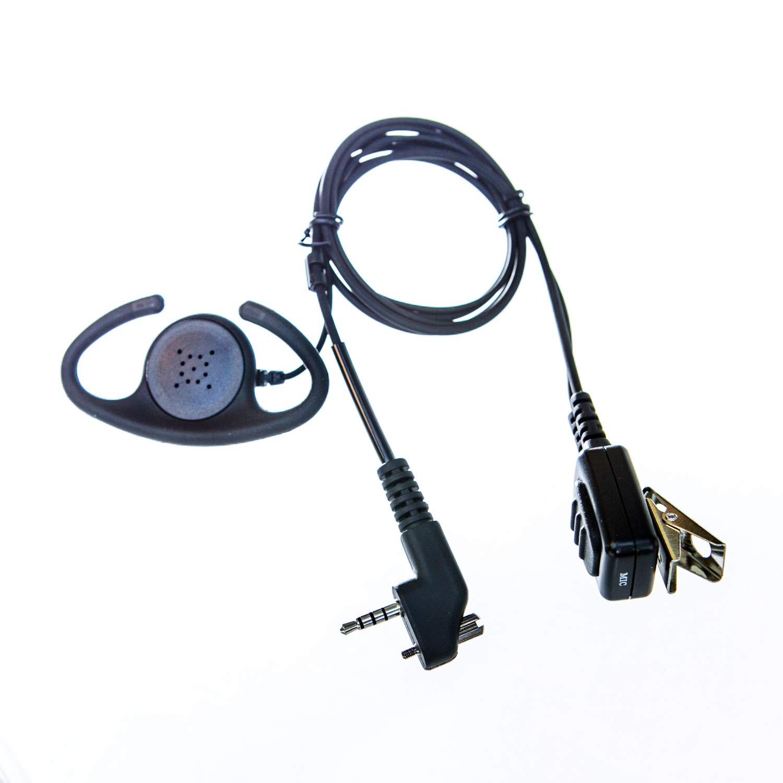 Adjustable D shape Earpiece with mic for Yaesu radio (single pin & screw)